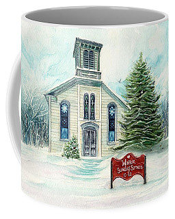 Winter Sunday Service - Country Church Coffee Mug by Janine Riley
