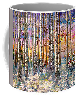 Dylan's Snowman - Winter Sunset Landscape Impressionistic Painting With Palette Knife Coffee Mug