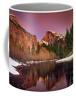 Coffee Mug featuring the photograph Winter Sunset Lights Up Half Dome Yosemite National Park by Dave Welling