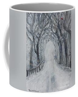 Coffee Mug featuring the painting Winter Tree Tunnel by Robin Maria Pedrero