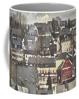 Winter Village With Red House Coffee Mug