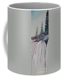 Coffee Mug featuring the painting Winter Waterfall by Marilyn  McNish
