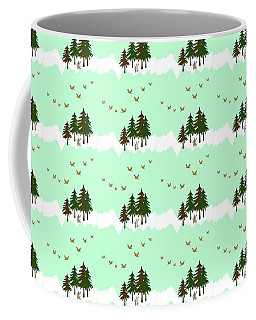 Coffee Mug featuring the mixed media Winter Woodlands Bird Pattern by Christina Rollo