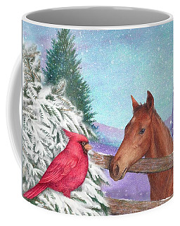 Coffee Mug featuring the painting Winterscape With Horse And Cardinal by Judith Cheng