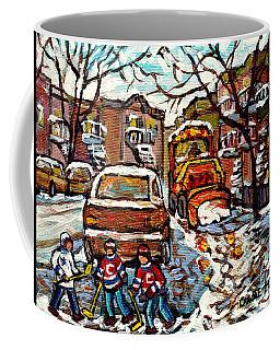 Winterscene Paintings For Sale Sidewalk Snowplow Parking Space Street Hockey Carole Spandau          Coffee Mug
