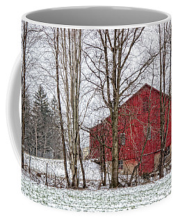 Coffee Mug featuring the photograph Wintry Barn by Skip Tribby