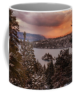 Wintry Emerald Bay Trees At Sunset Coffee Mug