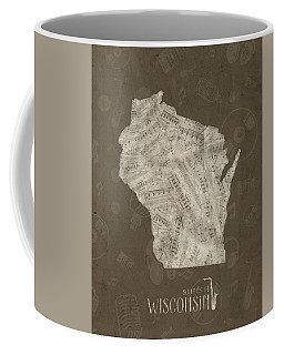 Wisconsin Map Music Notes 3 Coffee Mug