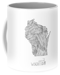 Wisconsin Map Music Notes Coffee Mug