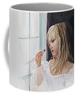Coffee Mug featuring the painting Wishful Thinking - Megan - Signed by Jan Dappen