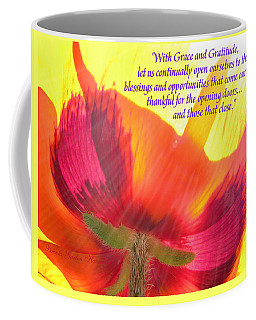 With Grace And Gratitude - Poppy From The Garden With Text Coffee Mug