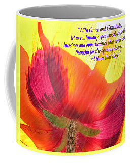 Coffee Mug featuring the photograph With Grace And Gratitude - Original Poetry On Poppy From The Garden by Brooks Garten Hauschild
