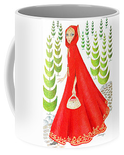 Wolf Bait In The Woods -- Little Red Riding Hood Portrait Coffee Mug