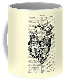 Wolf, Bear, Deer, Owl Wildlife Animals Black And White Coffee Mug