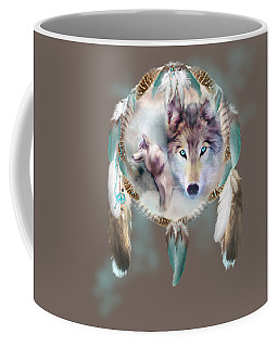 Wolf - Dreams Of Peace Coffee Mug by Carol Cavalaris