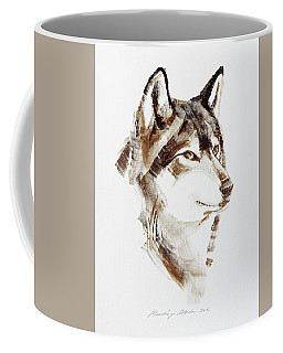 Wolf Head Brush Drawing Coffee Mug