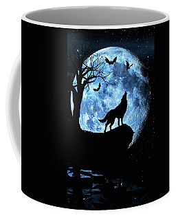 Wolf Howling At Full Moon With Bats Coffee Mug