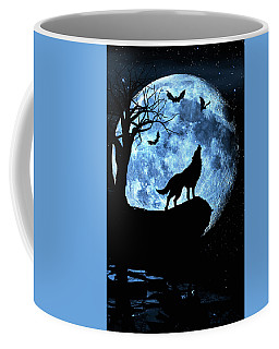 Wolf Howling At Full Moon With Bats Coffee Mug by Justin Kelefas