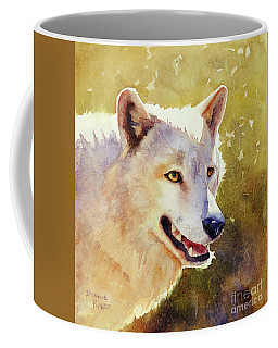 Coffee Mug featuring the painting Wolf In Morning Light by Bonnie Rinier