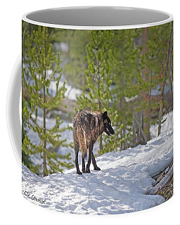 Wolf In Yellowstone Coffee Mug by CR  Courson