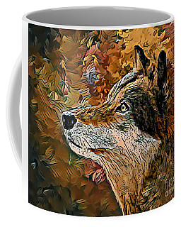 Coffee Mug featuring the painting Wolf by Lita Kelley