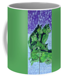 Coffee Mug featuring the painting Green Pack Of Wolves by Donald J Ryker III