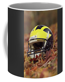 Wolverine Helmet In October Leaves Coffee Mug