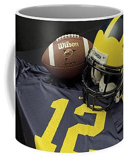 Wolverine Helmet With Football And Jersey Coffee Mug