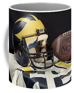 Wolverine Helmet With Jersey And Football Coffee Mug