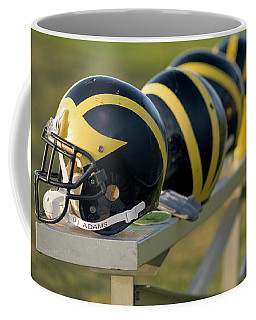 Wolverine Helmets On A Bench Coffee Mug