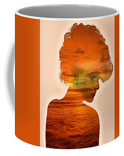 Woman And A Sunset Coffee Mug