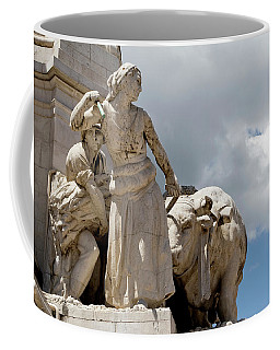 Coffee Mug featuring the photograph Woman And Bull, Marquis De Pombal Monument by Lorraine Devon Wilke