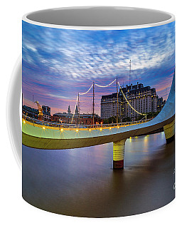 Coffee Mug featuring the photograph Woman Bridge 01 by Bernardo Galmarini