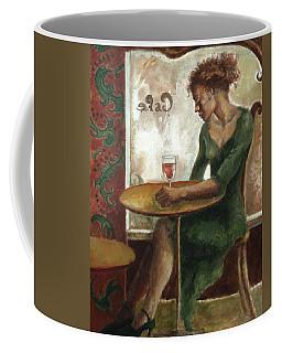 Woman In A Paris Cafe Coffee Mug