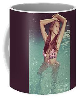Woman In Bikini In The Water And Retro Look Image Finish Coffee Mug
