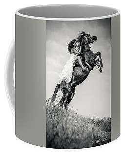 Coffee Mug featuring the photograph Woman In Dress Riding Chestnut Black Rearing Stallion by Dimitar Hristov
