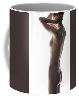 Woman In Front Of Curtain Coffee Mug