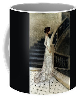 Woman In Lace Gown On Staircase Coffee Mug by Jill Battaglia
