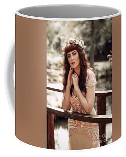 Woman Leaning On Rail Of Wooden Bridge Coffee Mug