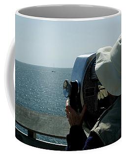 Woman Looking At Long Island Sound Coffee Mug
