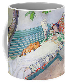 Woman Lying On A Bench Coffee Mug