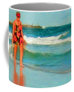 Woman On Beach Collecting Shells Coffee Mug by Rebecca Korpita