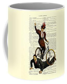 Woman On Bicycle Riding Over Man Coffee Mug