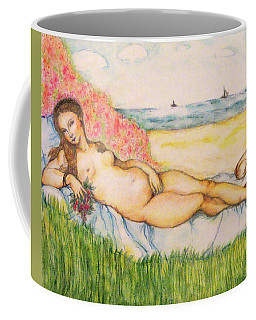 Woman On The Beach Coffee Mug by Hye Ja Billie