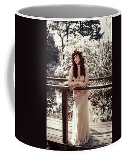 Woman On Wooden Bridge Coffee Mug
