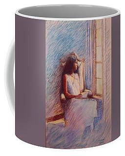 Woman Reading By Window Coffee Mug