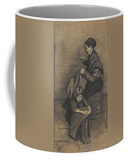 Coffee Mug featuring the painting Woman Sewing, With A Girl The Hague, March 1883 Vincent Van Gogh 1853 - 1890 by Artistic Panda