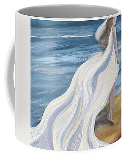 Woman Strolling On The Beach Coffee Mug