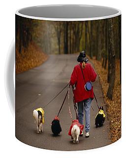 Woman Walks Her Army Of Dogs Dressed Coffee Mug