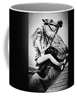 Woman With A White Horse Coffee Mug